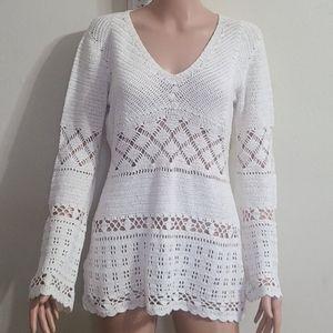 Michael kors Long sleeve crochet shirt Sz M Ivory
